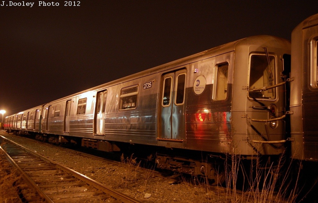 (295k, 1024x655)<br><b>Country:</b> United States<br><b>City:</b> New York<br><b>System:</b> New York City Transit<br><b>Location:</b> Coney Island Yard<br><b>Car:</b> R-68 (Westinghouse-Amrail, 1986-1988)  2735 <br><b>Photo by:</b> John Dooley<br><b>Date:</b> 2/23/2012<br><b>Viewed (this week/total):</b> 0 / 451