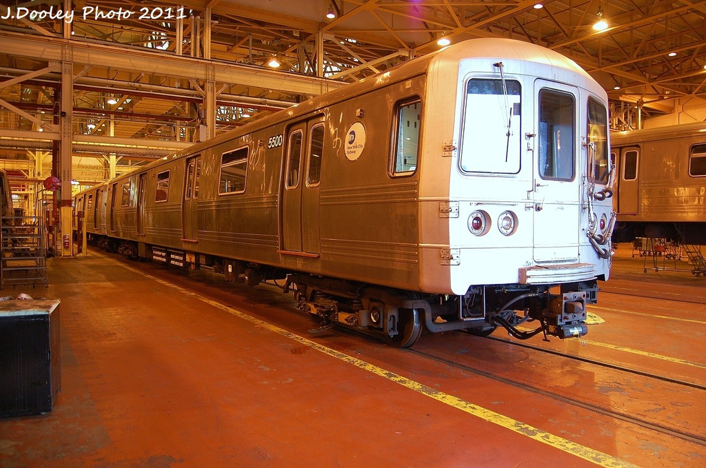(373k, 1024x679)<br><b>Country:</b> United States<br><b>City:</b> New York<br><b>System:</b> New York City Transit<br><b>Location:</b> Coney Island Shop/Overhaul & Repair Shop<br><b>Car:</b> R-46 (Pullman-Standard, 1974-75) 5500 <br><b>Photo by:</b> John Dooley<br><b>Date:</b> 8/26/2011<br><b>Viewed (this week/total):</b> 3 / 455