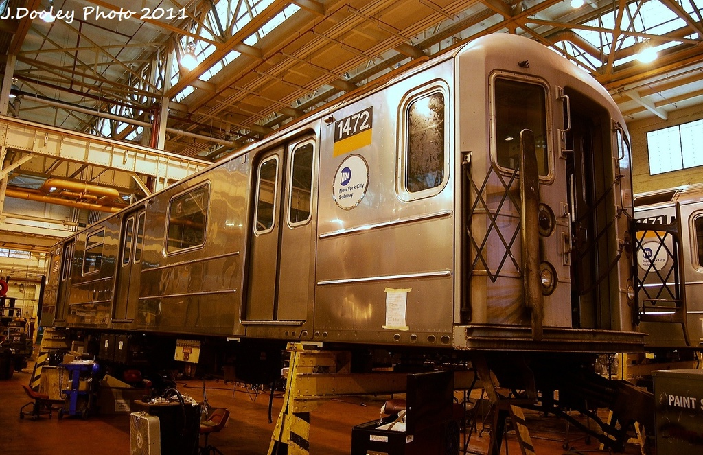 (391k, 1024x663)<br><b>Country:</b> United States<br><b>City:</b> New York<br><b>System:</b> New York City Transit<br><b>Location:</b> Coney Island Shop/Overhaul & Repair Shop<br><b>Car:</b> R-62 (Kawasaki, 1983-1985)  1472 <br><b>Photo by:</b> John Dooley<br><b>Date:</b> 8/26/2011<br><b>Viewed (this week/total):</b> 0 / 106