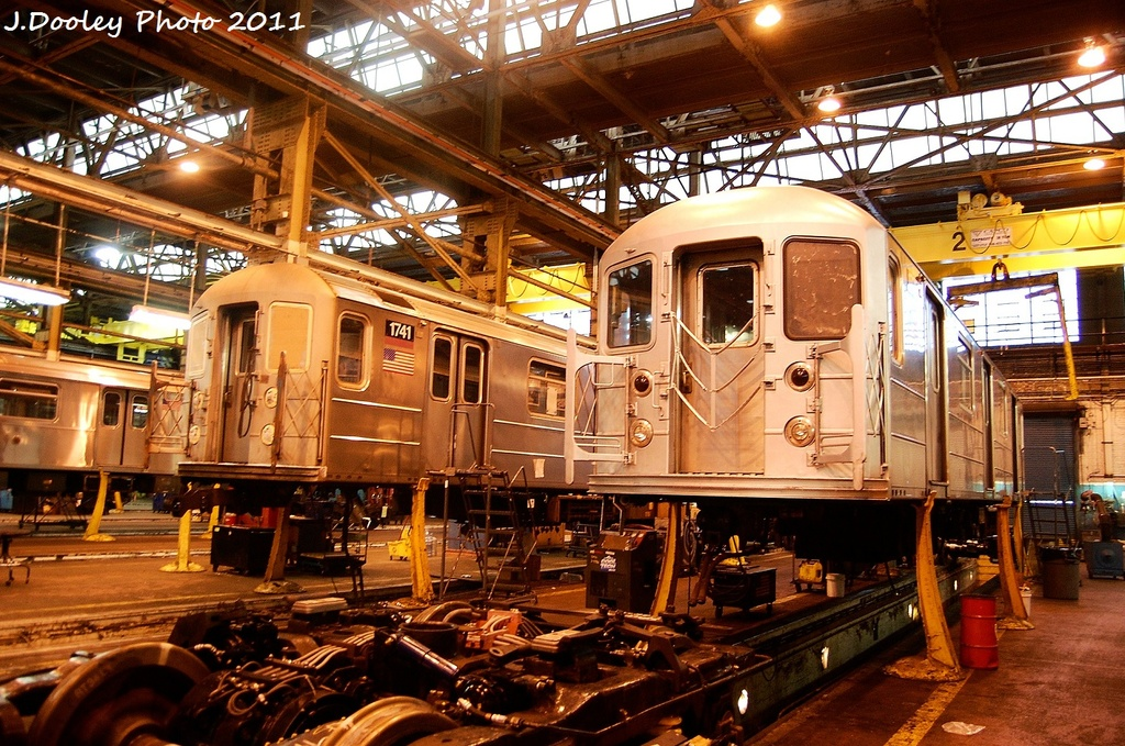(426k, 1024x679)<br><b>Country:</b> United States<br><b>City:</b> New York<br><b>System:</b> New York City Transit<br><b>Location:</b> Coney Island Shop/Overhaul & Repair Shop<br><b>Car:</b> R-62A (Bombardier, 1984-1987)  1741 <br><b>Photo by:</b> John Dooley<br><b>Date:</b> 11/29/2011<br><b>Viewed (this week/total):</b> 2 / 279