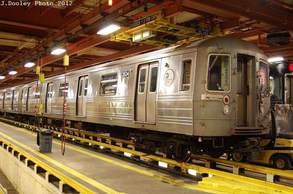 (383k, 1024x677)<br><b>Country:</b> United States<br><b>City:</b> New York<br><b>System:</b> New York City Transit<br><b>Location:</b> Coney Island Shop/Overhaul & Repair Shop<br><b>Car:</b> R-68 (Westinghouse-Amrail, 1986-1988)  2834 <br><b>Photo by:</b> John Dooley<br><b>Date:</b> 2/27/2012<br><b>Viewed (this week/total):</b> 4 / 763