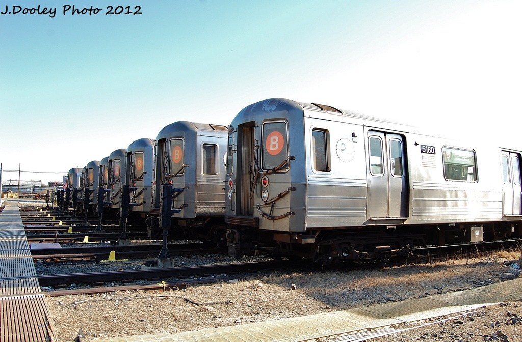 (327k, 1024x672)<br><b>Country:</b> United States<br><b>City:</b> New York<br><b>System:</b> New York City Transit<br><b>Location:</b> Coney Island Yard<br><b>Car:</b> R-68A (Kawasaki, 1988-1989)  5180 <br><b>Photo by:</b> John Dooley<br><b>Date:</b> 1/7/2012<br><b>Viewed (this week/total):</b> 0 / 645