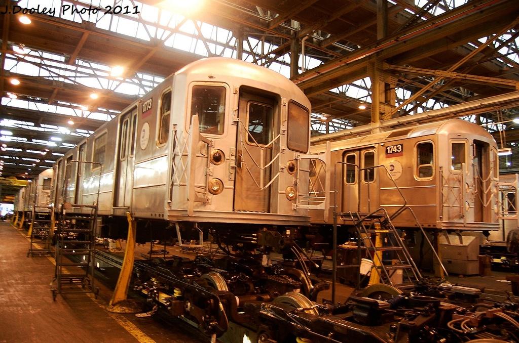 (402k, 1024x678)<br><b>Country:</b> United States<br><b>City:</b> New York<br><b>System:</b> New York City Transit<br><b>Location:</b> Coney Island Shop/Overhaul & Repair Shop<br><b>Car:</b> R-62A (Bombardier, 1984-1987)  1773/1743 <br><b>Photo by:</b> John Dooley<br><b>Date:</b> 11/29/2011<br><b>Viewed (this week/total):</b> 2 / 135