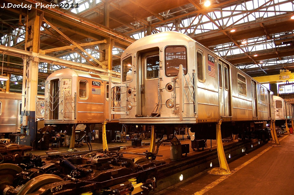 (458k, 1024x680)<br><b>Country:</b> United States<br><b>City:</b> New York<br><b>System:</b> New York City Transit<br><b>Location:</b> Coney Island Shop/Overhaul & Repair Shop<br><b>Car:</b> R-62A (Bombardier, 1984-1987)  1742/1774 <br><b>Photo by:</b> John Dooley<br><b>Date:</b> 11/29/2011<br><b>Viewed (this week/total):</b> 4 / 184