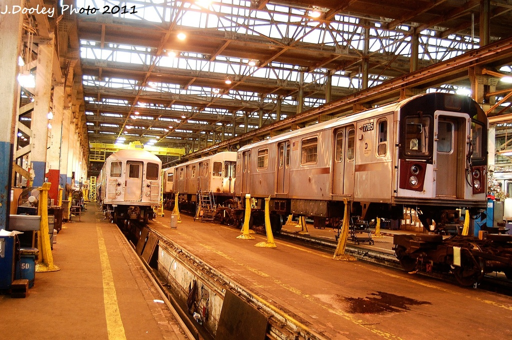 (445k, 1024x680)<br><b>Country:</b> United States<br><b>City:</b> New York<br><b>System:</b> New York City Transit<br><b>Location:</b> Coney Island Shop/Overhaul & Repair Shop<br><b>Car:</b> R-142A (Supplemental Order, Kawasaki, 2003-2004)  7785 <br><b>Photo by:</b> John Dooley<br><b>Date:</b> 11/29/2011<br><b>Viewed (this week/total):</b> 2 / 292