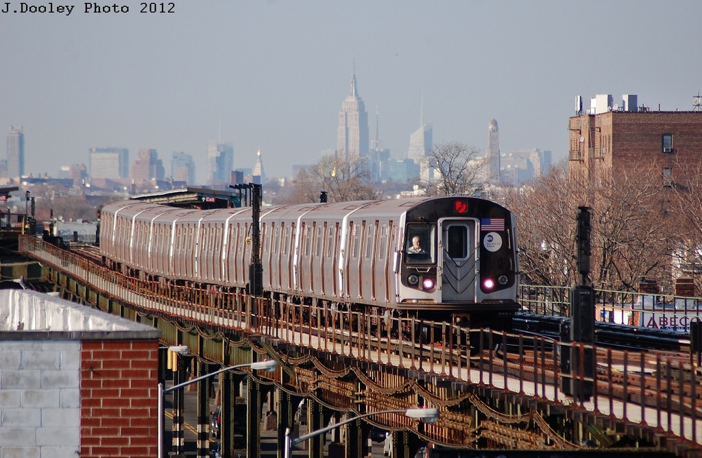 (340k, 1024x668)<br><b>Country:</b> United States<br><b>City:</b> New York<br><b>System:</b> New York City Transit<br><b>Line:</b> BMT Culver Line<br><b>Location:</b> Kings Highway <br><b>Route:</b> F<br><b>Car:</b> R-160A (Option 2) (Alstom, 2009, 5-car sets)  9657 <br><b>Photo by:</b> John Dooley<br><b>Date:</b> 3/19/2012<br><b>Viewed (this week/total):</b> 2 / 783