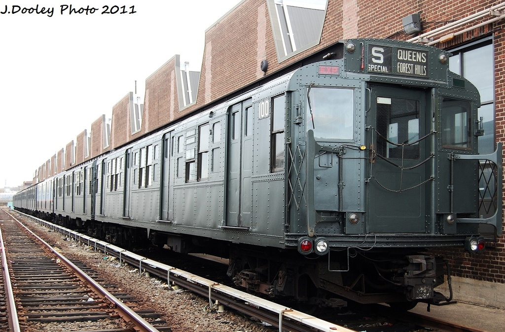 (369k, 1024x674)<br><b>Country:</b> United States<br><b>City:</b> New York<br><b>System:</b> New York City Transit<br><b>Location:</b> 207th Street Yard<br><b>Car:</b> R-1 (American Car & Foundry, 1930-1931) 100 <br><b>Photo by:</b> John Dooley<br><b>Date:</b> 11/29/2011<br><b>Viewed (this week/total):</b> 1 / 358