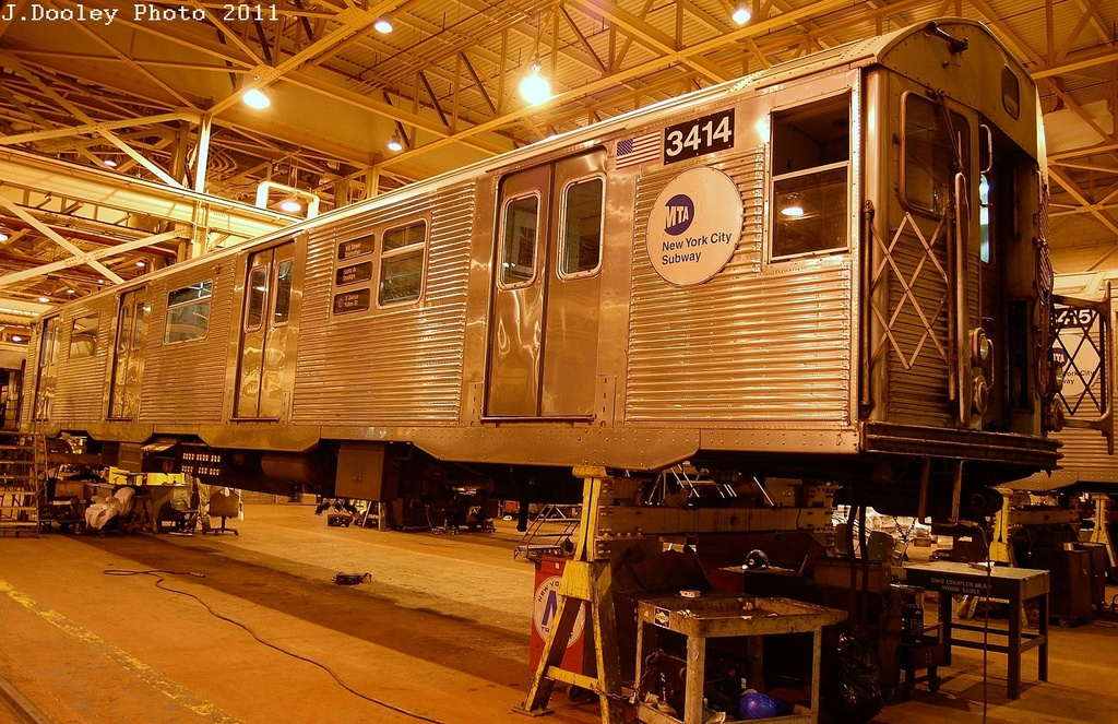 (420k, 1024x663)<br><b>Country:</b> United States<br><b>City:</b> New York<br><b>System:</b> New York City Transit<br><b>Location:</b> Coney Island Shop/Overhaul & Repair Shop<br><b>Car:</b> R-32 (Budd, 1964)  3414 <br><b>Photo by:</b> John Dooley<br><b>Date:</b> 12/17/2011<br><b>Viewed (this week/total):</b> 0 / 120