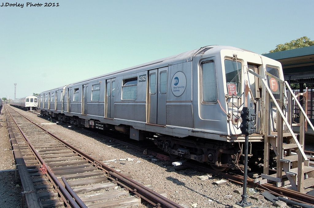 (368k, 1024x679)<br><b>Country:</b> United States<br><b>City:</b> New York<br><b>System:</b> New York City Transit<br><b>Location:</b> Rockaway Park Yard<br><b>Car:</b> R-40 (St. Louis, 1968)  4392 <br><b>Photo by:</b> John Dooley<br><b>Date:</b> 8/20/2011<br><b>Viewed (this week/total):</b> 2 / 1426