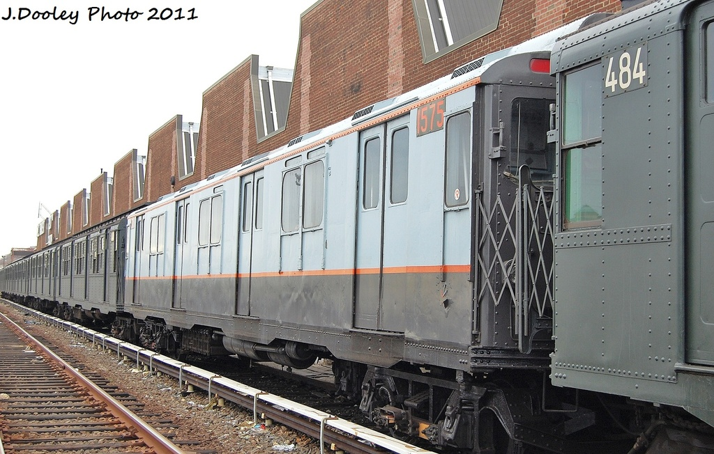 (345k, 1024x652)<br><b>Country:</b> United States<br><b>City:</b> New York<br><b>System:</b> New York City Transit<br><b>Location:</b> 207th Street Yard<br><b>Car:</b> R-7A (Pullman, 1938)  1575 <br><b>Photo by:</b> John Dooley<br><b>Date:</b> 11/29/2011<br><b>Viewed (this week/total):</b> 1 / 173