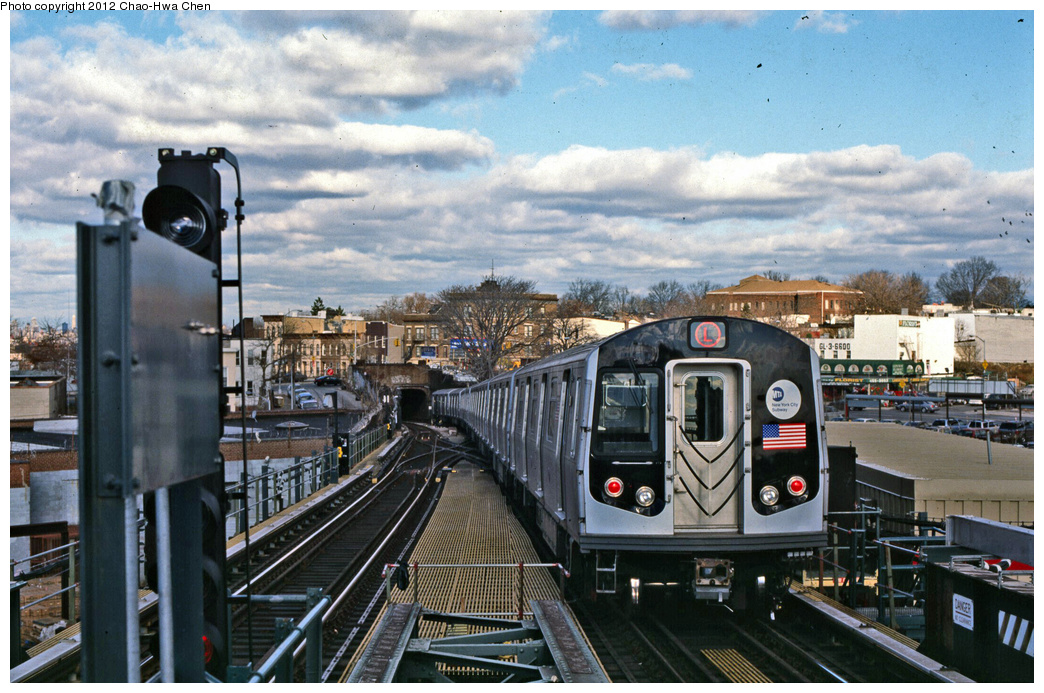 (400k, 1044x693)<br><b>Country:</b> United States<br><b>City:</b> New York<br><b>System:</b> New York City Transit<br><b>Line:</b> BMT Canarsie Line<br><b>Location:</b> Broadway Junction <br><b>Route:</b> L<br><b>Car:</b> R-143 (Kawasaki, 2001-2002) 8108 <br><b>Photo by:</b> Chao-Hwa Chen<br><b>Date:</b> 12/21/2001<br><b>Viewed (this week/total):</b> 1 / 340