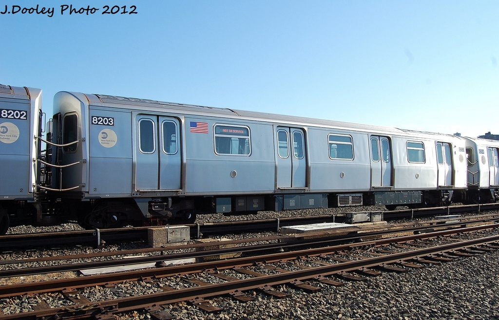 (337k, 1024x657)<br><b>Country:</b> United States<br><b>City:</b> New York<br><b>System:</b> New York City Transit<br><b>Location:</b> Coney Island Yard<br><b>Car:</b> R-143 (Kawasaki, 2001-2002) 8203 <br><b>Photo by:</b> John Dooley<br><b>Date:</b> 1/7/2012<br><b>Viewed (this week/total):</b> 2 / 159
