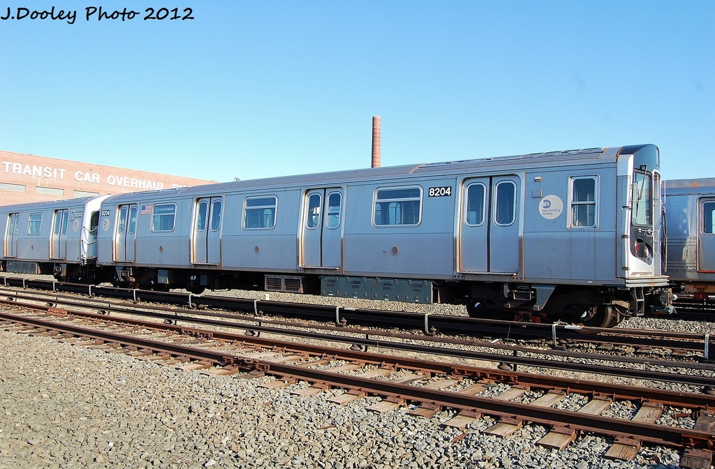 (373k, 1024x672)<br><b>Country:</b> United States<br><b>City:</b> New York<br><b>System:</b> New York City Transit<br><b>Location:</b> Coney Island Yard<br><b>Car:</b> R-143 (Kawasaki, 2001-2002) 8204 <br><b>Photo by:</b> John Dooley<br><b>Date:</b> 1/7/2012<br><b>Viewed (this week/total):</b> 0 / 198