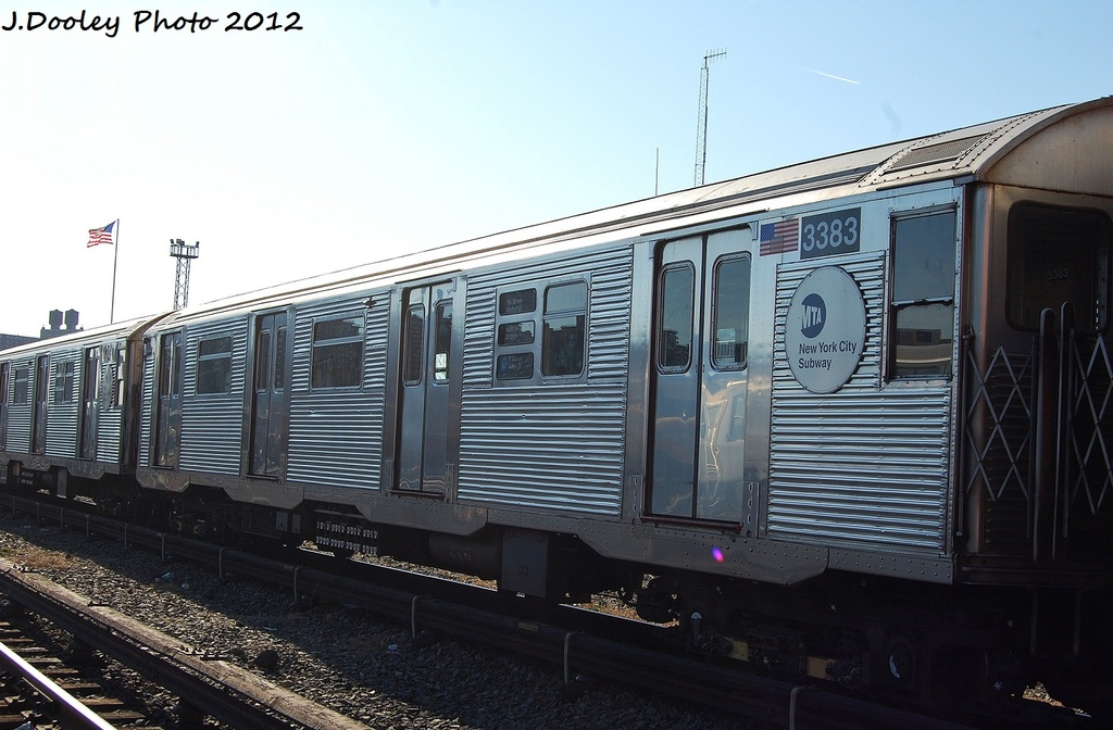 (294k, 1024x672)<br><b>Country:</b> United States<br><b>City:</b> New York<br><b>System:</b> New York City Transit<br><b>Location:</b> Coney Island Yard<br><b>Car:</b> R-32 (Budd, 1964)  3383 <br><b>Photo by:</b> John Dooley<br><b>Date:</b> 1/7/2012<br><b>Viewed (this week/total):</b> 0 / 117