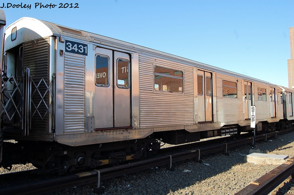 (342k, 1024x680)<br><b>Country:</b> United States<br><b>City:</b> New York<br><b>System:</b> New York City Transit<br><b>Location:</b> Coney Island Yard<br><b>Car:</b> R-32 (Budd, 1964)  3431 <br><b>Photo by:</b> John Dooley<br><b>Date:</b> 1/7/2012<br><b>Viewed (this week/total):</b> 1 / 254