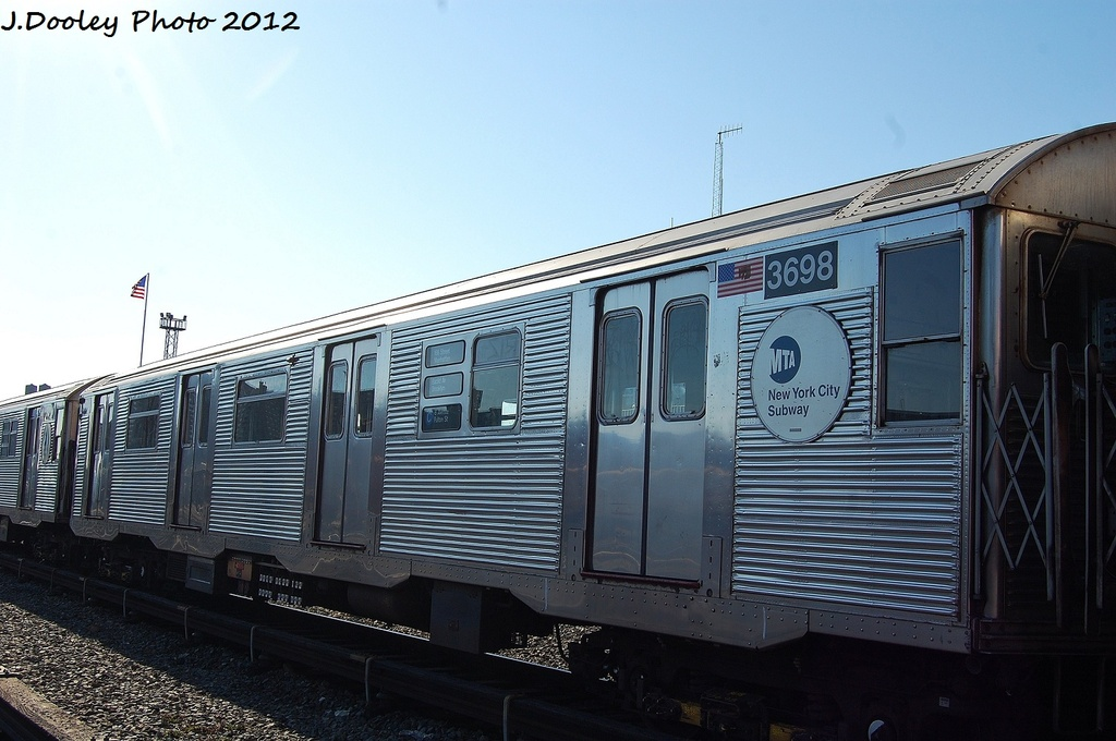 (291k, 1024x680)<br><b>Country:</b> United States<br><b>City:</b> New York<br><b>System:</b> New York City Transit<br><b>Location:</b> Coney Island Yard<br><b>Car:</b> R-32 (Budd, 1964)  3698 <br><b>Photo by:</b> John Dooley<br><b>Date:</b> 1/7/2012<br><b>Viewed (this week/total):</b> 2 / 113
