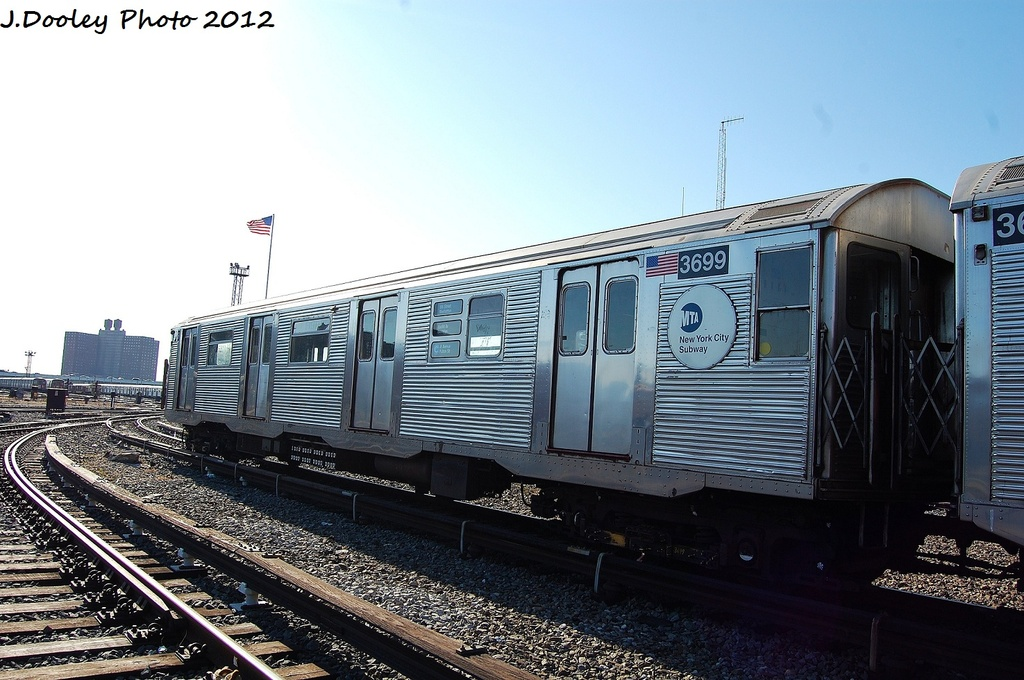 (316k, 1024x680)<br><b>Country:</b> United States<br><b>City:</b> New York<br><b>System:</b> New York City Transit<br><b>Location:</b> Coney Island Yard<br><b>Car:</b> R-32 (Budd, 1964)  3699 <br><b>Photo by:</b> John Dooley<br><b>Date:</b> 1/7/2012<br><b>Viewed (this week/total):</b> 0 / 175