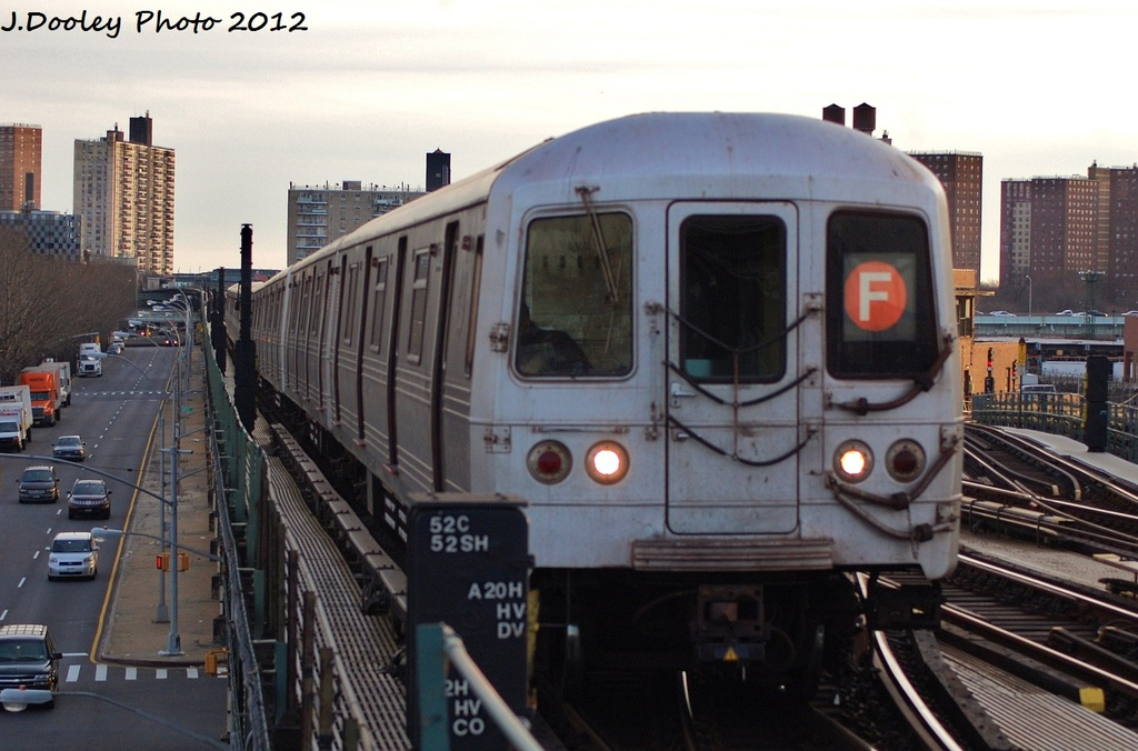 (288k, 1024x676)<br><b>Country:</b> United States<br><b>City:</b> New York<br><b>System:</b> New York City Transit<br><b>Line:</b> BMT Culver Line<br><b>Location:</b> Avenue X <br><b>Route:</b> F<br><b>Car:</b> R-46 (Pullman-Standard, 1974-75)  <br><b>Photo by:</b> John Dooley<br><b>Date:</b> 1/20/2012<br><b>Viewed (this week/total):</b> 1 / 621