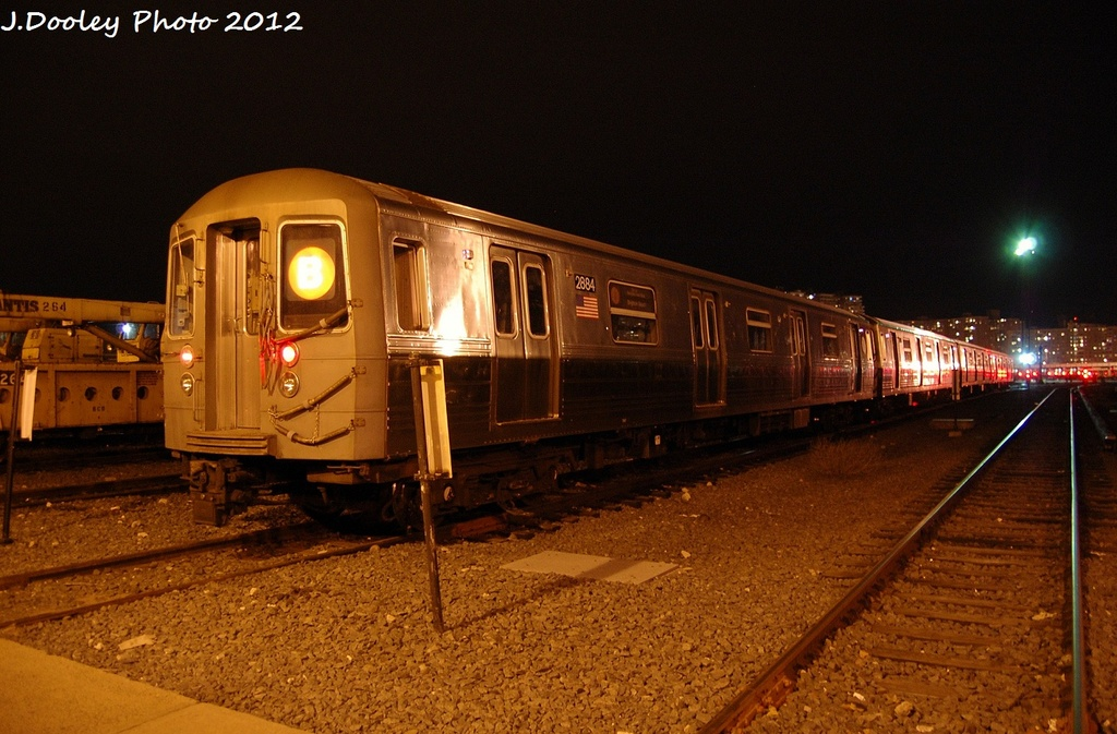 (324k, 1024x673)<br><b>Country:</b> United States<br><b>City:</b> New York<br><b>System:</b> New York City Transit<br><b>Location:</b> Coney Island Yard<br><b>Car:</b> R-68 (Westinghouse-Amrail, 1986-1988)  2884 <br><b>Photo by:</b> John Dooley<br><b>Date:</b> 1/19/2012<br><b>Viewed (this week/total):</b> 0 / 273