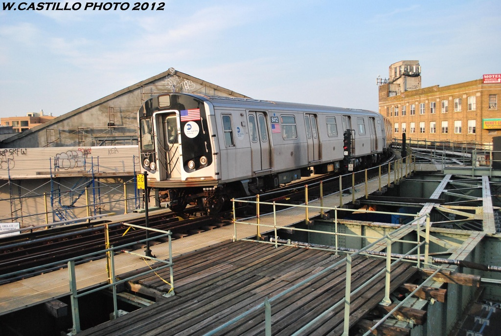 (336k, 1024x687)<br><b>Country:</b> United States<br><b>City:</b> New York<br><b>System:</b> New York City Transit<br><b>Line:</b> BMT Myrtle Avenue Line<br><b>Location:</b> Wyckoff Avenue <br><b>Route:</b> M<br><b>Car:</b> R-160A-1 (Alstom, 2005-2008, 4 car sets)  8412 <br><b>Photo by:</b> Wilfredo Castillo<br><b>Date:</b> 5/16/2012<br><b>Viewed (this week/total):</b> 1 / 1215