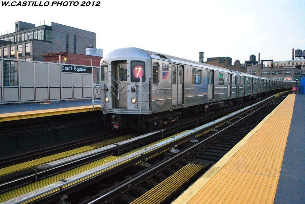 (290k, 1024x687)<br><b>Country:</b> United States<br><b>City:</b> New York<br><b>System:</b> New York City Transit<br><b>Line:</b> IRT Flushing Line<br><b>Location:</b> Court House Square/45th Road <br><b>Route:</b> 7<br><b>Car:</b> R-62A (Bombardier, 1984-1987)  1656 <br><b>Photo by:</b> Wilfredo Castillo<br><b>Date:</b> 5/16/2012<br><b>Viewed (this week/total):</b> 2 / 317