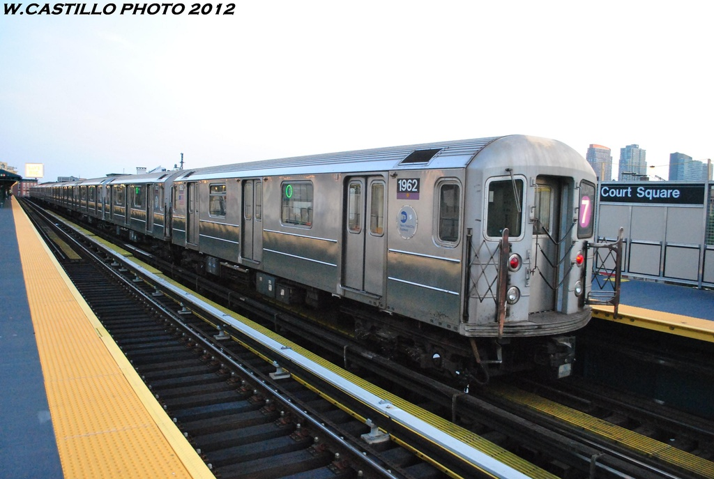 (257k, 1024x687)<br><b>Country:</b> United States<br><b>City:</b> New York<br><b>System:</b> New York City Transit<br><b>Line:</b> IRT Flushing Line<br><b>Location:</b> Court House Square/45th Road <br><b>Route:</b> 7<br><b>Car:</b> R-62A (Bombardier, 1984-1987)  1962 <br><b>Photo by:</b> Wilfredo Castillo<br><b>Date:</b> 5/16/2012<br><b>Viewed (this week/total):</b> 0 / 296