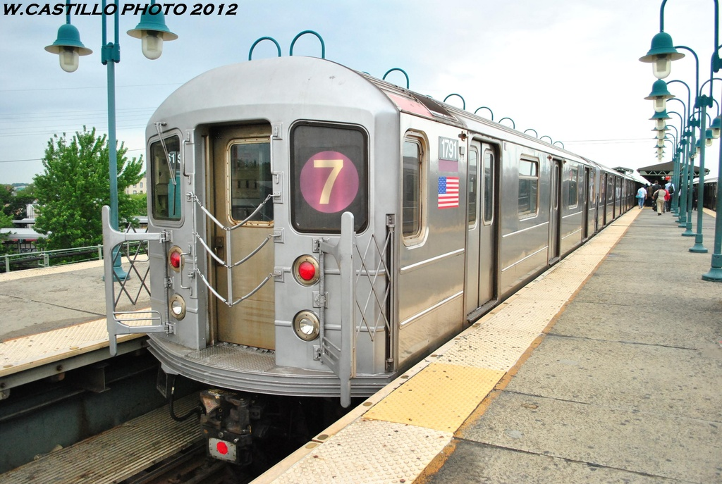 (317k, 1024x687)<br><b>Country:</b> United States<br><b>City:</b> New York<br><b>System:</b> New York City Transit<br><b>Line:</b> IRT Flushing Line<br><b>Location:</b> 61st Street/Woodside <br><b>Route:</b> 7<br><b>Car:</b> R-62A (Bombardier, 1984-1987)  1791 <br><b>Photo by:</b> Wilfredo Castillo<br><b>Date:</b> 5/14/2012<br><b>Viewed (this week/total):</b> 2 / 194