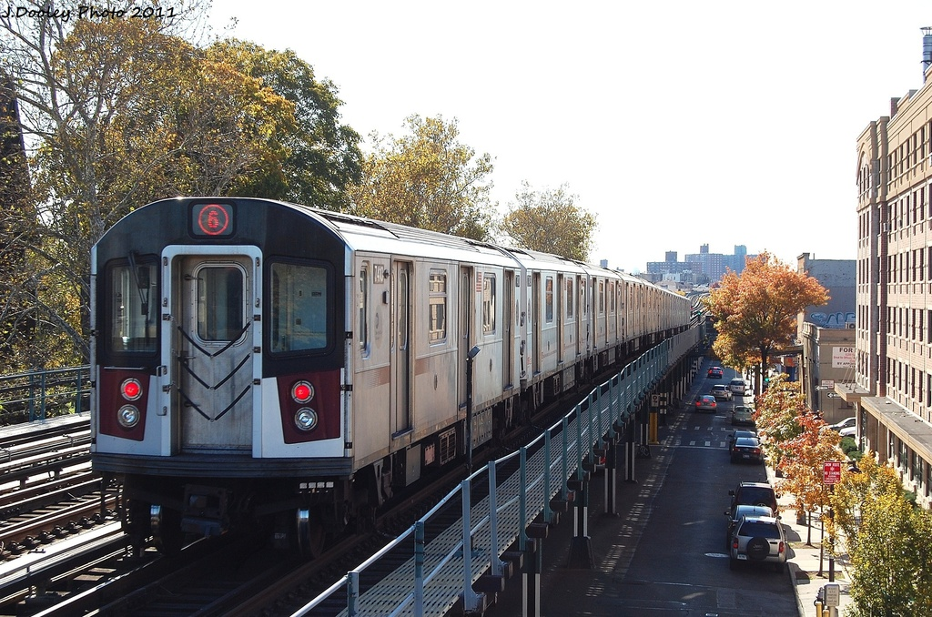 (384k, 1024x678)<br><b>Country:</b> United States<br><b>City:</b> New York<br><b>System:</b> New York City Transit<br><b>Line:</b> IRT Pelham Line<br><b>Location:</b> Westchester Square <br><b>Route:</b> 6<br><b>Car:</b> R-142A (Primary Order, Kawasaki, 1999-2002)  7410 <br><b>Photo by:</b> John Dooley<br><b>Date:</b> 11/5/2011<br><b>Viewed (this week/total):</b> 2 / 768