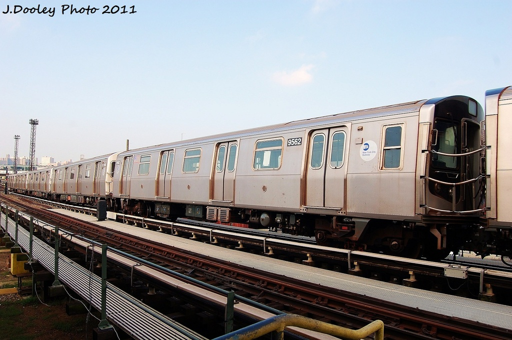 (321k, 1024x681)<br><b>Country:</b> United States<br><b>City:</b> New York<br><b>System:</b> New York City Transit<br><b>Location:</b> Coney Island Yard<br><b>Car:</b> R-160A (Option 1) (Alstom, 2008-2009, 5 car sets)  9562 <br><b>Photo by:</b> John Dooley<br><b>Date:</b> 8/26/2011<br><b>Viewed (this week/total):</b> 0 / 106