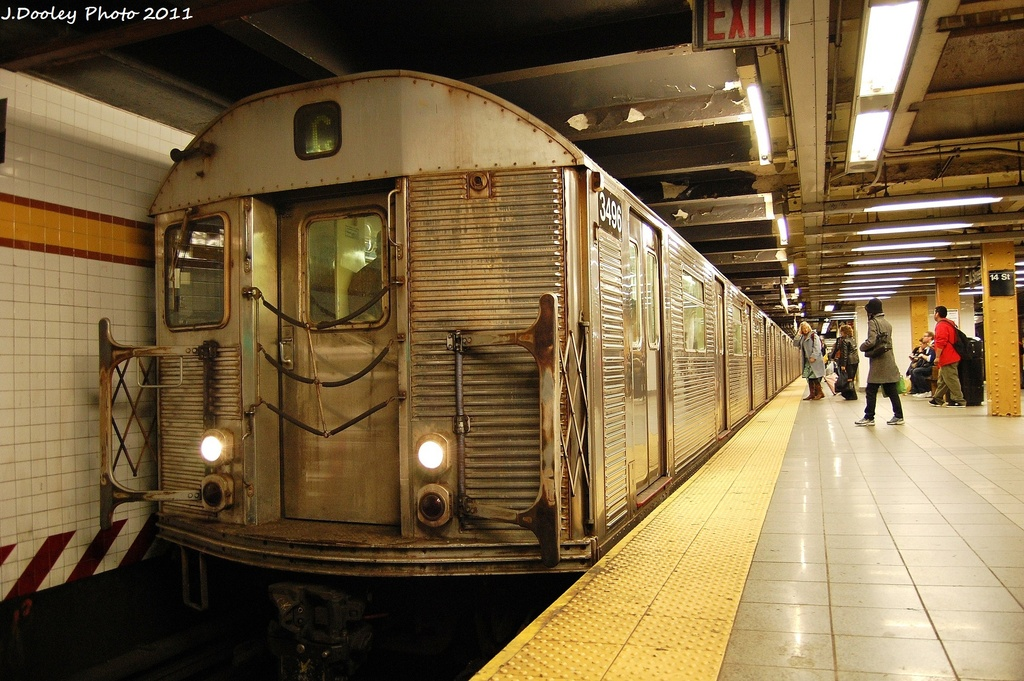 (361k, 1024x681)<br><b>Country:</b> United States<br><b>City:</b> New York<br><b>System:</b> New York City Transit<br><b>Line:</b> IND 8th Avenue Line<br><b>Location:</b> 14th Street <br><b>Route:</b> C<br><b>Car:</b> R-32 (Budd, 1964)  3496 <br><b>Photo by:</b> John Dooley<br><b>Date:</b> 11/14/2011<br><b>Viewed (this week/total):</b> 0 / 177