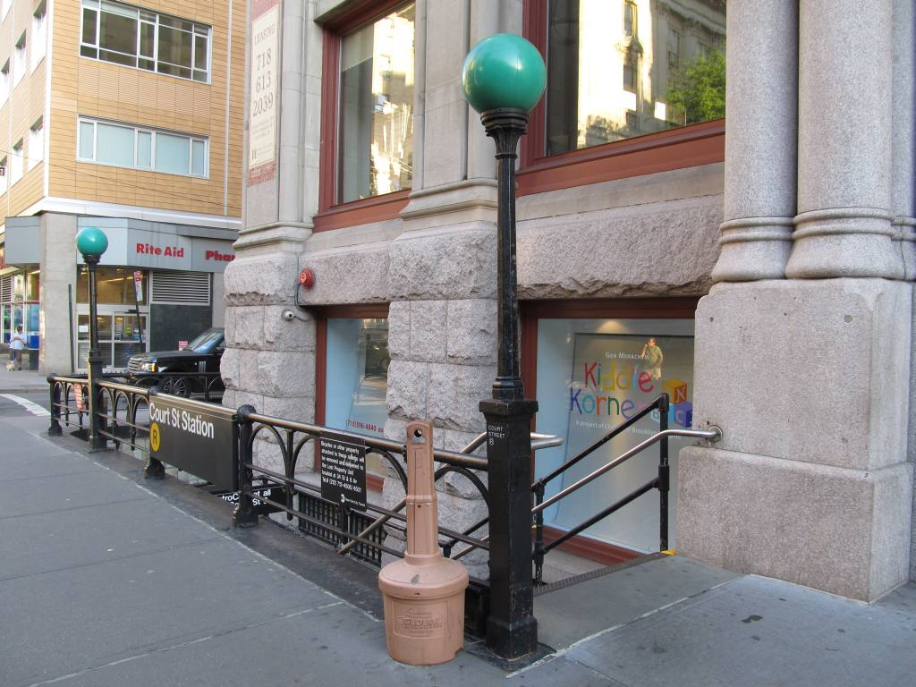 (131k, 1024x768)<br><b>Country:</b> United States<br><b>City:</b> New York<br><b>System:</b> New York City Transit<br><b>Line:</b> BMT Broadway Line<br><b>Location:</b> Court Street <br><b>Photo by:</b> Robbie Rosenfeld<br><b>Date:</b> 5/20/2012<br><b>Notes:</b> Station entrance.<br><b>Viewed (this week/total):</b> 2 / 1200