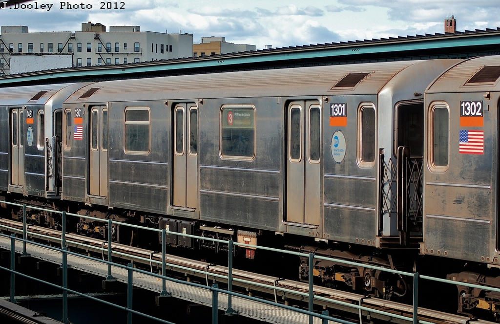 (357k, 1024x663)<br><b>Country:</b> United States<br><b>City:</b> New York<br><b>System:</b> New York City Transit<br><b>Line:</b> IRT Brooklyn Line<br><b>Location:</b> Sutter Avenue/Rutland Road <br><b>Route:</b> 3<br><b>Car:</b> R-62 (Kawasaki, 1983-1985)  1301 <br><b>Photo by:</b> John Dooley<br><b>Date:</b> 3/29/2012<br><b>Viewed (this week/total):</b> 2 / 713