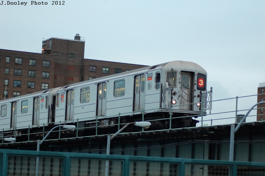 (231k, 1024x680)<br><b>Country:</b> United States<br><b>City:</b> New York<br><b>System:</b> New York City Transit<br><b>Line:</b> IRT Brooklyn Line<br><b>Location:</b> Junius Street <br><b>Route:</b> 3<br><b>Car:</b> R-62 (Kawasaki, 1983-1985)  1356 <br><b>Photo by:</b> John Dooley<br><b>Date:</b> 5/2/2012<br><b>Viewed (this week/total):</b> 4 / 465