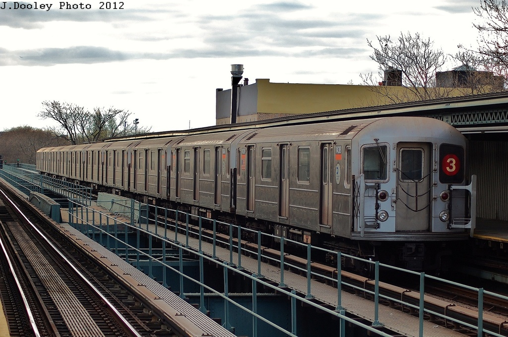 (362k, 1024x680)<br><b>Country:</b> United States<br><b>City:</b> New York<br><b>System:</b> New York City Transit<br><b>Line:</b> IRT Brooklyn Line<br><b>Location:</b> Saratoga Avenue <br><b>Route:</b> 3<br><b>Car:</b> R-62 (Kawasaki, 1983-1985)  1438 <br><b>Photo by:</b> John Dooley<br><b>Date:</b> 3/29/2012<br><b>Viewed (this week/total):</b> 1 / 194