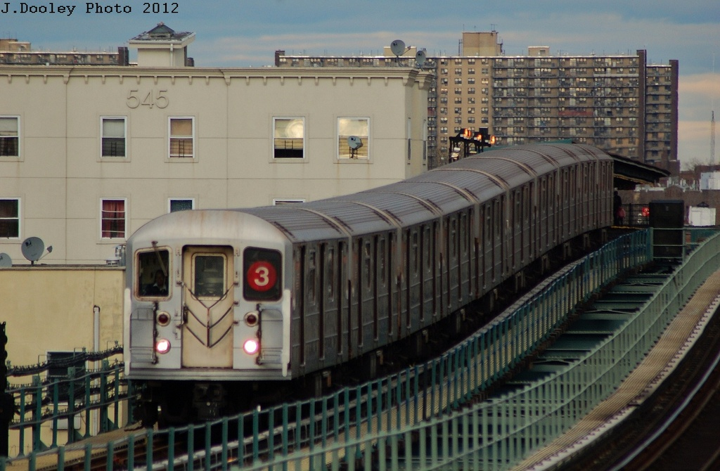 (288k, 1024x670)<br><b>Country:</b> United States<br><b>City:</b> New York<br><b>System:</b> New York City Transit<br><b>Line:</b> IRT Brooklyn Line<br><b>Location:</b> Pennsylvania Avenue <br><b>Route:</b> 3<br><b>Car:</b> R-62 (Kawasaki, 1983-1985)  1440 <br><b>Photo by:</b> John Dooley<br><b>Date:</b> 3/29/2012<br><b>Viewed (this week/total):</b> 0 / 289