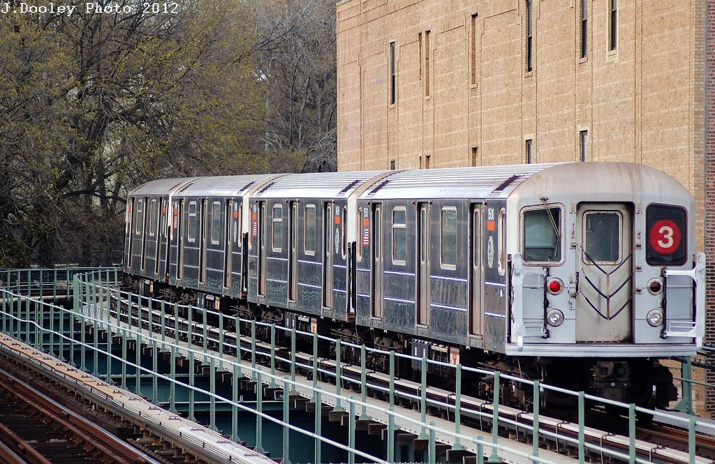 (444k, 1024x665)<br><b>Country:</b> United States<br><b>City:</b> New York<br><b>System:</b> New York City Transit<br><b>Line:</b> IRT Brooklyn Line<br><b>Location:</b> Sutter Avenue/Rutland Road <br><b>Route:</b> 3<br><b>Car:</b> R-62 (Kawasaki, 1983-1985)  1500 <br><b>Photo by:</b> John Dooley<br><b>Date:</b> 3/29/2012<br><b>Viewed (this week/total):</b> 0 / 380