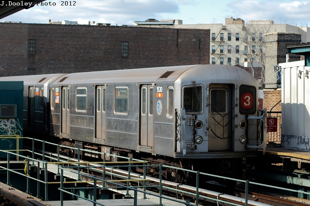 (323k, 1024x680)<br><b>Country:</b> United States<br><b>City:</b> New York<br><b>System:</b> New York City Transit<br><b>Line:</b> IRT Brooklyn Line<br><b>Location:</b> Sutter Avenue/Rutland Road <br><b>Route:</b> 3<br><b>Car:</b> R-62 (Kawasaki, 1983-1985)  1530 <br><b>Photo by:</b> John Dooley<br><b>Date:</b> 3/29/2012<br><b>Viewed (this week/total):</b> 5 / 601