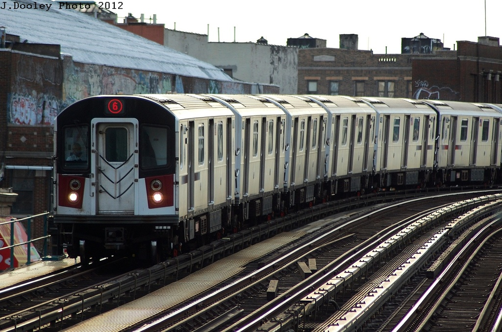 (362k, 1024x678)<br><b>Country:</b> United States<br><b>City:</b> New York<br><b>System:</b> New York City Transit<br><b>Line:</b> IRT Pelham Line<br><b>Location:</b> Morrison/Soundview Aves. <br><b>Route:</b> 6<br><b>Car:</b> R-142A (Primary Order, Kawasaki, 1999-2002)  7355 <br><b>Photo by:</b> John Dooley<br><b>Date:</b> 2/22/2012<br><b>Viewed (this week/total):</b> 0 / 406