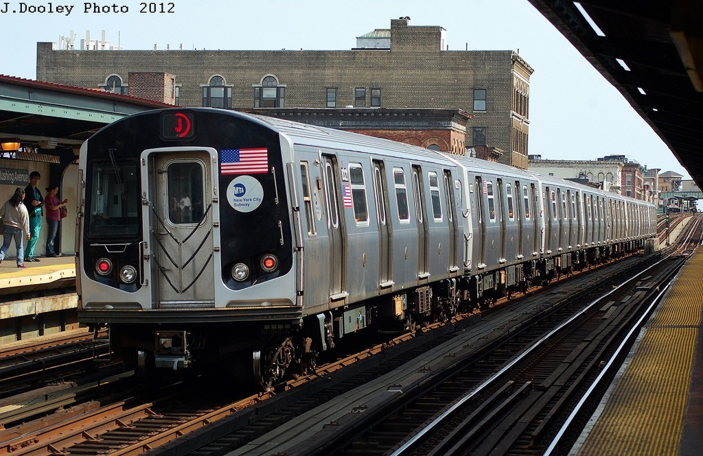 (370k, 1024x665)<br><b>Country:</b> United States<br><b>City:</b> New York<br><b>System:</b> New York City Transit<br><b>Line:</b> BMT Nassau Street/Jamaica Line<br><b>Location:</b> Flushing Avenue <br><b>Route:</b> J<br><b>Car:</b> R-160A-1 (Alstom, 2005-2008, 4 car sets)  8321 <br><b>Photo by:</b> John Dooley<br><b>Date:</b> 3/23/2012<br><b>Viewed (this week/total):</b> 2 / 671