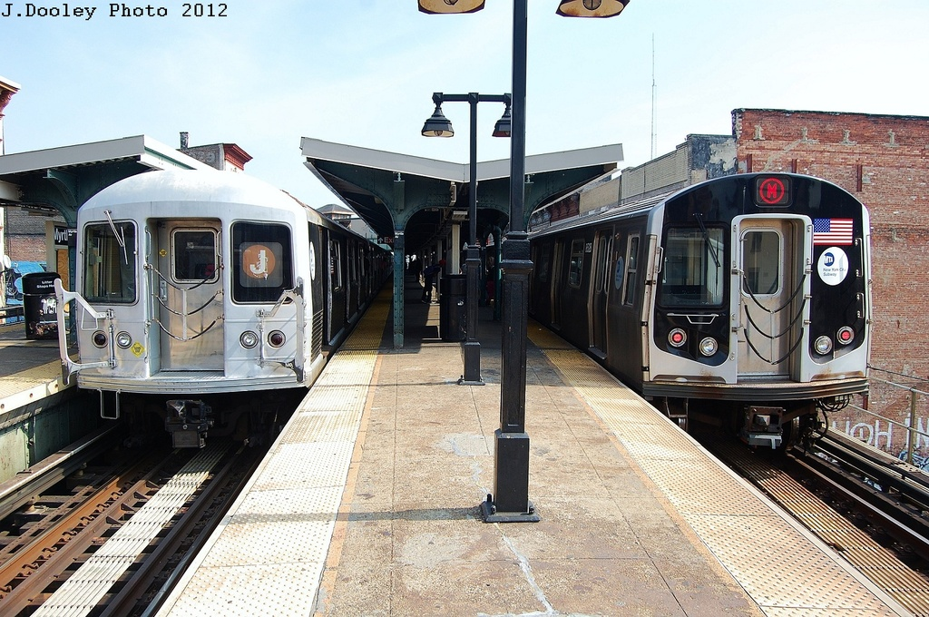 (388k, 1024x680)<br><b>Country:</b> United States<br><b>City:</b> New York<br><b>System:</b> New York City Transit<br><b>Line:</b> BMT Nassau Street/Jamaica Line<br><b>Location:</b> Myrtle Avenue <br><b>Route:</b> J<br><b>Car:</b> R-42 (St. Louis, 1969-1970)   <br><b>Photo by:</b> John Dooley<br><b>Date:</b> 3/23/2012<br><b>Notes:</b> With R-160 8528<br><b>Viewed (this week/total):</b> 3 / 1021