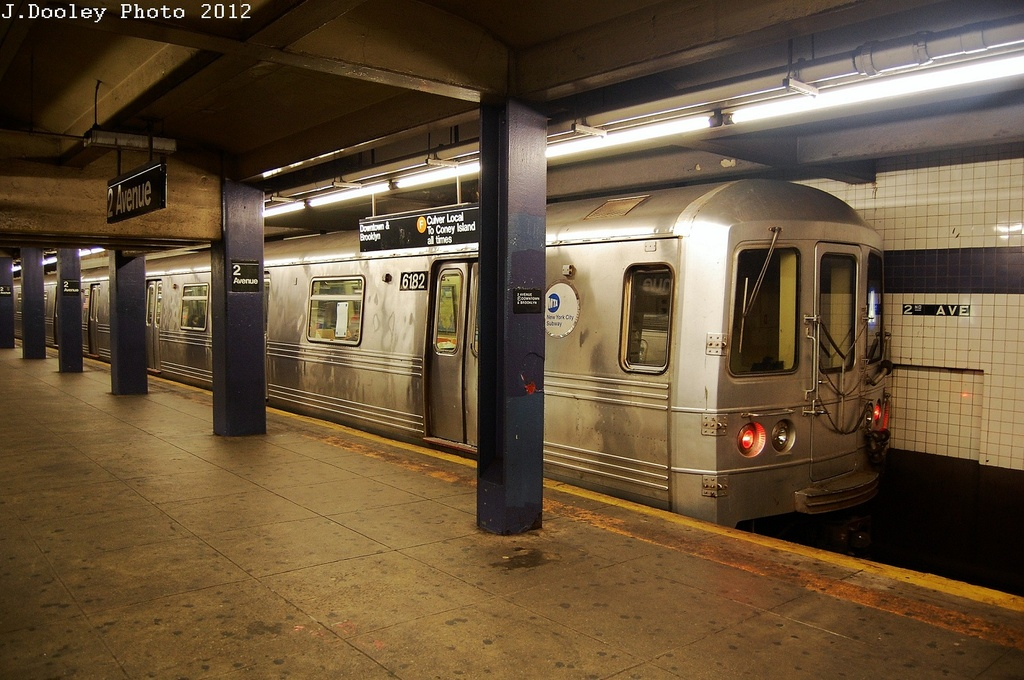 (332k, 1024x680)<br><b>Country:</b> United States<br><b>City:</b> New York<br><b>System:</b> New York City Transit<br><b>Line:</b> IND 6th Avenue Line<br><b>Location:</b> 2nd Avenue <br><b>Route:</b> A reroute<br><b>Car:</b> R-46 (Pullman-Standard, 1974-75) 6182 <br><b>Photo by:</b> John Dooley<br><b>Date:</b> 3/14/2012<br><b>Viewed (this week/total):</b> 3 / 550