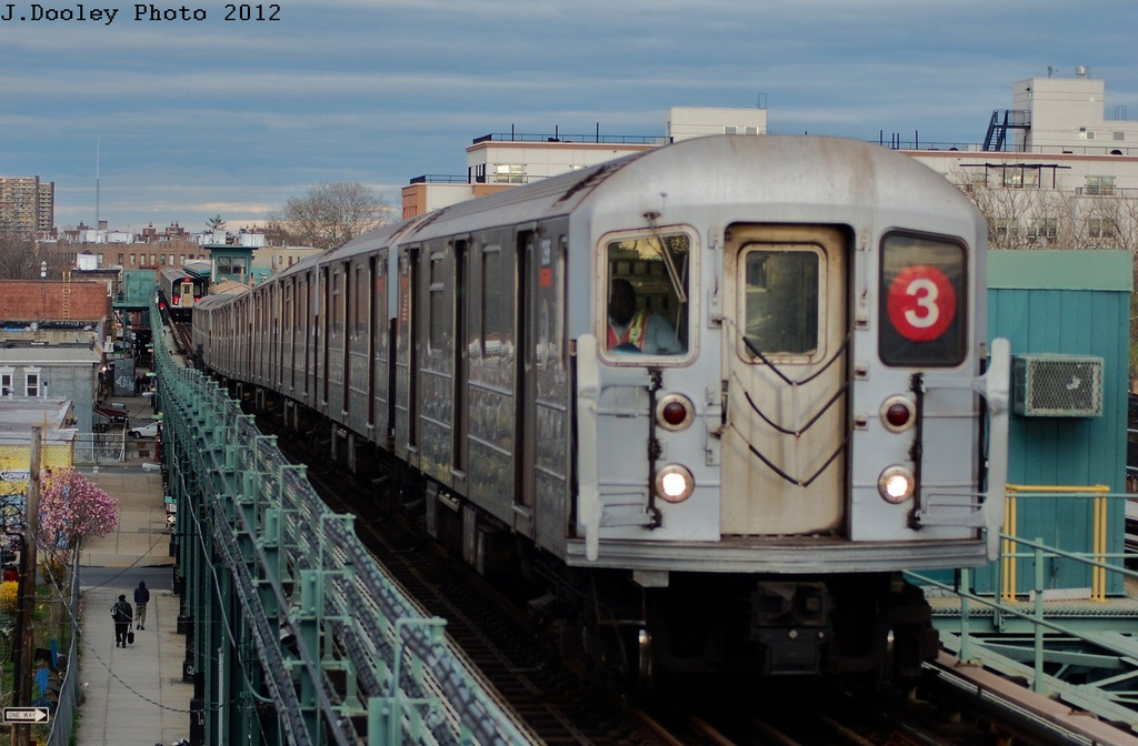 (292k, 1024x672)<br><b>Country:</b> United States<br><b>City:</b> New York<br><b>System:</b> New York City Transit<br><b>Line:</b> IRT Brooklyn Line<br><b>Location:</b> Van Siclen Avenue <br><b>Route:</b> 3<br><b>Car:</b> R-62 (Kawasaki, 1983-1985)  1396 <br><b>Photo by:</b> John Dooley<br><b>Date:</b> 3/29/2012<br><b>Viewed (this week/total):</b> 7 / 804