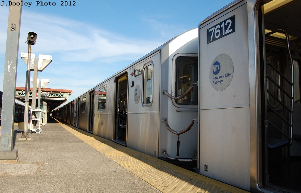 (269k, 1024x656)<br><b>Country:</b> United States<br><b>City:</b> New York<br><b>System:</b> New York City Transit<br><b>Line:</b> IRT Pelham Line<br><b>Location:</b> Pelham Bay Park <br><b>Route:</b> 6<br><b>Car:</b> R-142A (Option Order, Kawasaki, 2002-2003)  7613 <br><b>Photo by:</b> John Dooley<br><b>Date:</b> 2/22/2012<br><b>Viewed (this week/total):</b> 0 / 240