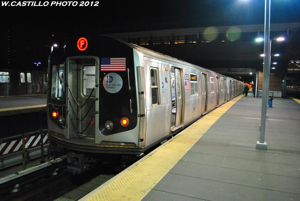 (270k, 1024x687)<br><b>Country:</b> United States<br><b>City:</b> New York<br><b>System:</b> New York City Transit<br><b>Location:</b> Coney Island/Stillwell Avenue<br><b>Route:</b> F<br><b>Car:</b> R-160A (Option 1) (Alstom, 2008-2009, 5 car sets)  9243 <br><b>Photo by:</b> Wilfredo Castillo<br><b>Date:</b> 5/20/2012<br><b>Viewed (this week/total):</b> 2 / 617