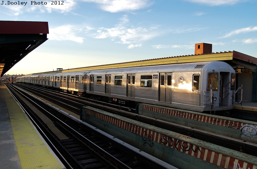 (315k, 1024x675)<br><b>Country:</b> United States<br><b>City:</b> New York<br><b>System:</b> New York City Transit<br><b>Line:</b> BMT Nassau Street/Jamaica Line<br><b>Location:</b> Chauncey Street <br><b>Route:</b> J<br><b>Car:</b> R-42 (St. Louis, 1969-1970)  4812 <br><b>Photo by:</b> John Dooley<br><b>Date:</b> 3/3/2012<br><b>Viewed (this week/total):</b> 0 / 896