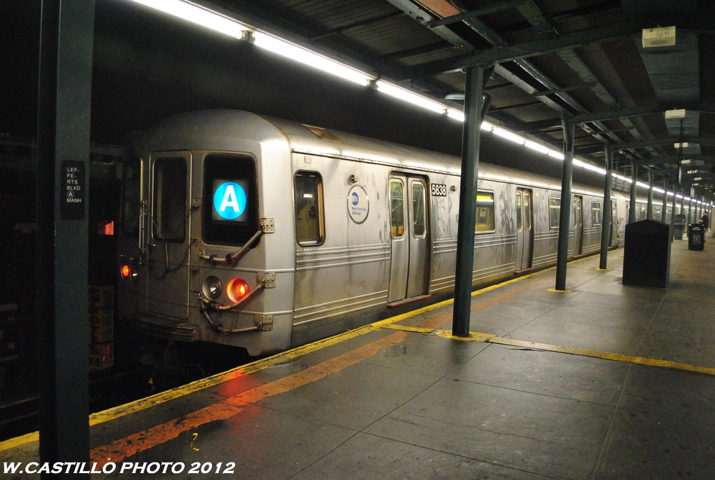 (278k, 1024x687)<br><b>Country:</b> United States<br><b>City:</b> New York<br><b>System:</b> New York City Transit<br><b>Line:</b> IND Fulton Street Line<br><b>Location:</b> Lefferts Boulevard <br><b>Route:</b> A<br><b>Car:</b> R-46 (Pullman-Standard, 1974-75) 5838 <br><b>Photo by:</b> Wilfredo Castillo<br><b>Date:</b> 5/25/2012<br><b>Viewed (this week/total):</b> 8 / 589