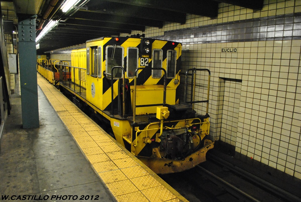 (338k, 1024x687)<br><b>Country:</b> United States<br><b>City:</b> New York<br><b>System:</b> New York City Transit<br><b>Line:</b> IND Fulton Street Line<br><b>Location:</b> Euclid Avenue <br><b>Route:</b> Work Service<br><b>Car:</b> R-52 Locomotive  82 <br><b>Photo by:</b> Wilfredo Castillo<br><b>Date:</b> 5/25/2012<br><b>Viewed (this week/total):</b> 0 / 225