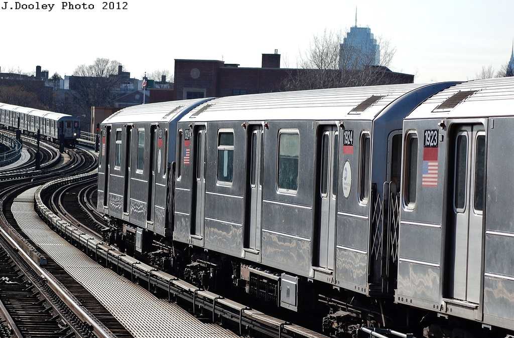 (358k, 1024x674)<br><b>Country:</b> United States<br><b>City:</b> New York<br><b>System:</b> New York City Transit<br><b>Line:</b> IRT Flushing Line<br><b>Location:</b> 61st Street/Woodside <br><b>Route:</b> 7<br><b>Car:</b> R-62A (Bombardier, 1984-1987)  1924 <br><b>Photo by:</b> John Dooley<br><b>Date:</b> 3/6/2012<br><b>Viewed (this week/total):</b> 2 / 825