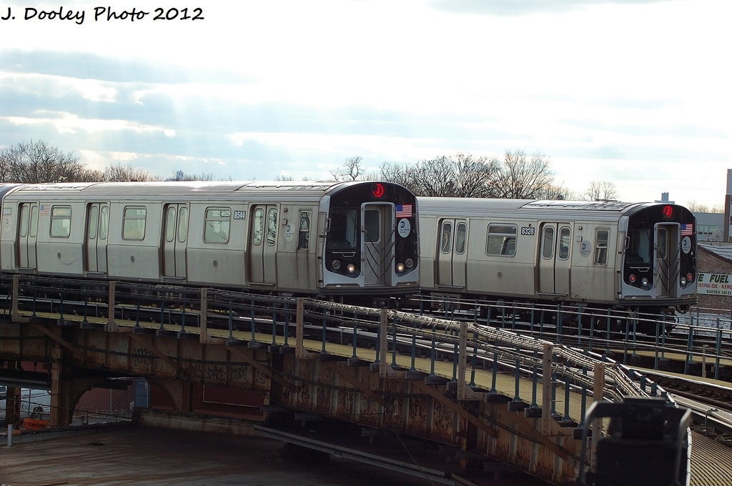 (292k, 1024x680)<br><b>Country:</b> United States<br><b>City:</b> New York<br><b>System:</b> New York City Transit<br><b>Line:</b> BMT Nassau Street/Jamaica Line<br><b>Location:</b> Cypress Hills <br><b>Route:</b> J<br><b>Car:</b> R-160A-1 (Alstom, 2005-2008, 4 car sets)  8328 <br><b>Photo by:</b> John Dooley<br><b>Date:</b> 1/2/2012<br><b>Viewed (this week/total):</b> 0 / 251