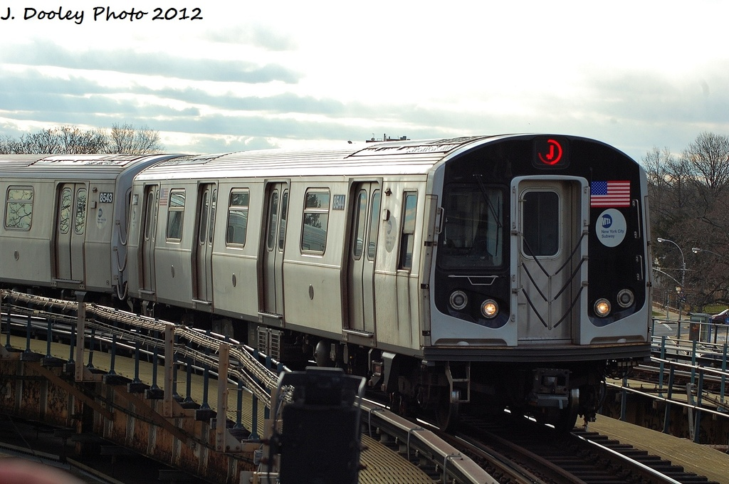 (302k, 1024x680)<br><b>Country:</b> United States<br><b>City:</b> New York<br><b>System:</b> New York City Transit<br><b>Line:</b> BMT Nassau Street/Jamaica Line<br><b>Location:</b> Cypress Hills <br><b>Route:</b> J<br><b>Car:</b> R-160A-1 (Alstom, 2005-2008, 4 car sets)  8544 <br><b>Photo by:</b> John Dooley<br><b>Date:</b> 1/2/2012<br><b>Viewed (this week/total):</b> 0 / 283